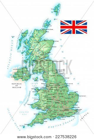 United Kingdom - Detailed Topographic Map - Vector Illustration