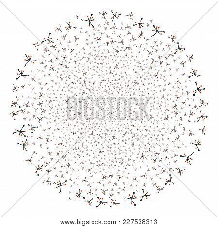 Big Bang Fireworks Spheric Cluster. Object Pattern Constructed From Scattered Big Bang Pictograms As