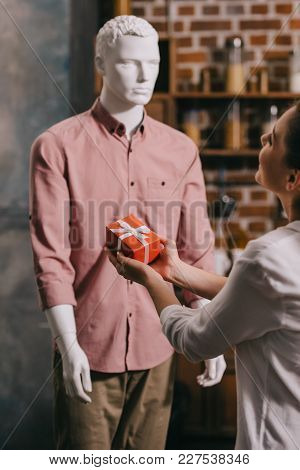 Partial View Of Woman Pretending To Except Gift From Mannikin, Loneliness And Perfect Man Dream Conc