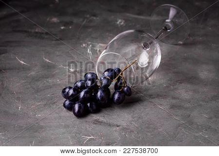 Wine Glass And Red Grape Background Horizontal Background With Red Grape And Wine Glass