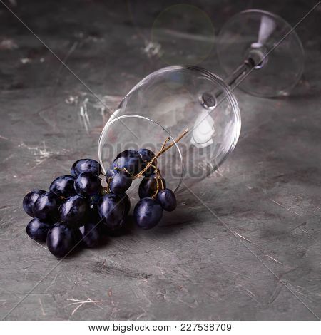 Wine Glass And Red Grape Background Horizontal Background With Red Grape And Wine Glass Square