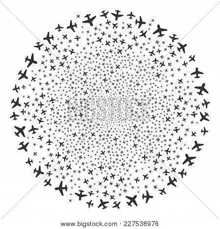 Airplane Festive Spheric Cluster. Object Pattern Created From Random Airplane Icons As Burst Spheric