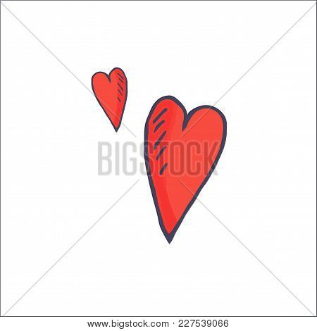Comics Style Hand Drawn Imitation Vector Symbol: Love Hearts Shapes Isolated. Great As Romantic Hear