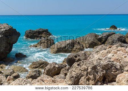 Amazing Seascape Of Blue Waters Of Megali Petra Beach, Lefkada, Ionian Islands, Greece
