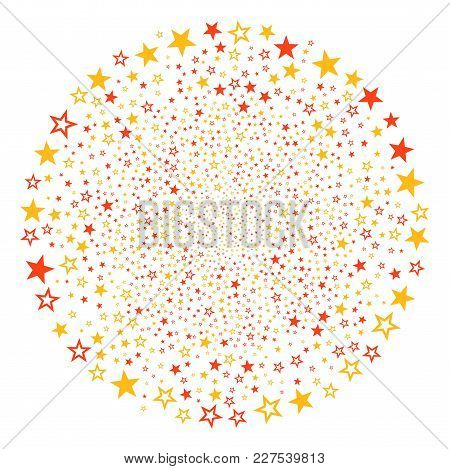 Decoration Stars Festive Circle. Object Pattern Constructed From Random Decoration Stars Pictographs
