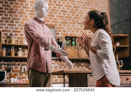 Excited Woman And Mannikin With Jewelry Box In Hand, Perfect Relationship And Marriage Dream Concept