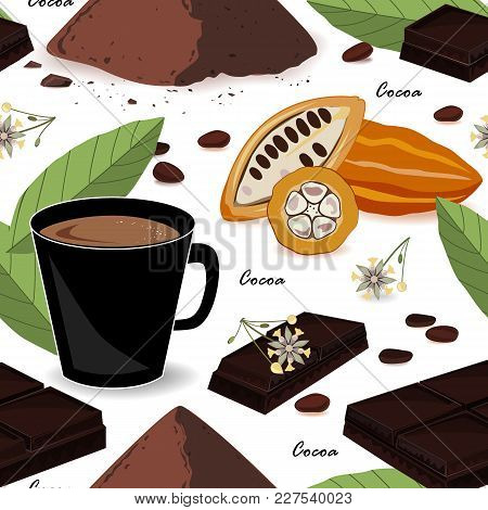 Cute And Stylish Cocoa Seamless Pattern. Cocoa Beans And Leaves, Chocolate, Cocoa Drink And Powder.