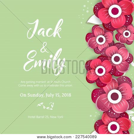 Wedding Invitation, Floral Invite Card Design Wedding Invite Flyer. Wedding Invite Poster.