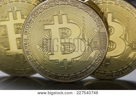 Bitcoin Golden Coin New Virtual Money And Dollar Background . Cryptocurrency. Business And Trading C