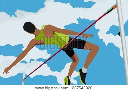 Athlete Jumping High Jump In Background Of Blue Sky And Clouds