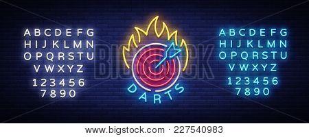 Darts Logo In Neon Style. Neon Sign, Bright Night Advertising, Light Banner. Vecton Illustration. Ed