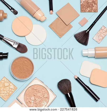 Corrective Makeup Set. Concealers, Primer, Liquid Fluid And Cream Foundation With Correcting, Bronzi
