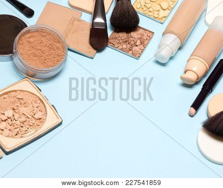 Frame Of Makeup Products For Creating Beautiful Skin Tone: Concealer, Foundation, Cosmetic Powder On