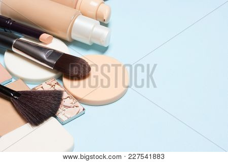 Makeup Foundation Products. Corrective Make-up Set. Close-up, Selective Focus. Copy Space