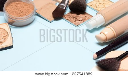 Corrective Make-up Set: Concealer, Foundation, Cosmetic Powder. Selective Focus, Copy Space
