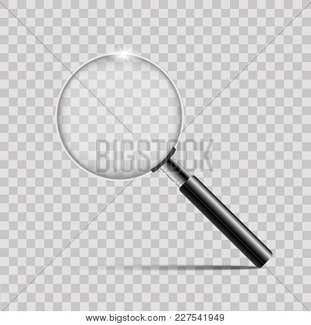 Realistic Silver Magnifier On Transparent Background.vector Illustrator.