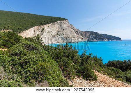 Amazing Seascape Of Blue Waters Of Porto Katsiki Beach, Lefkada, Ionian Islands, Greece