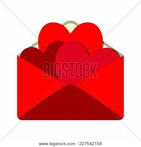 Valentine Mail Icon. Love And Gifts For Web On White Background. Flat Vector Illustration