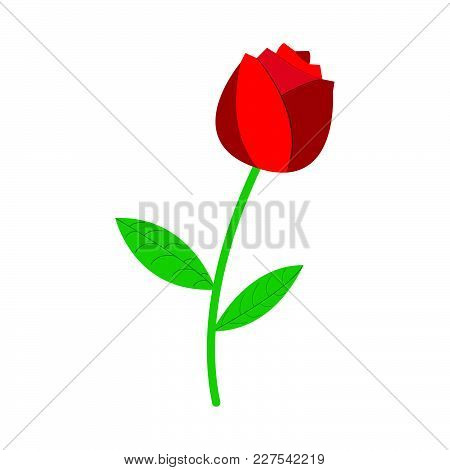 Rose Icon. Love And Gifts For Web On White Background. Flat Vector Illustration