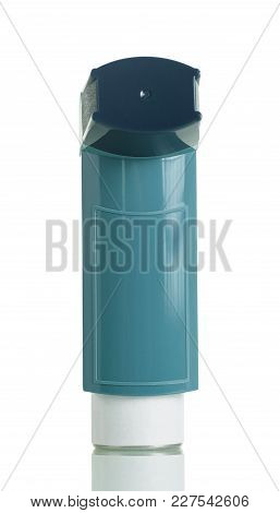 Small Portable Inhaler For Asthmatics, Isolated On White Background