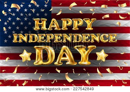 Happy Independence Day Gold Balloon Greeting Card Horizontal Banner With Golden Stars Anf Flag. Vect