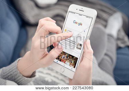 Woman Using Google App