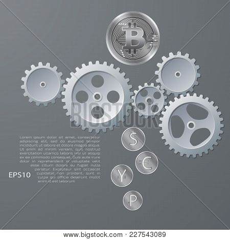 Vector Illustration Of A Gear Mechanism, The Collapse Of The Bitcoin Logo