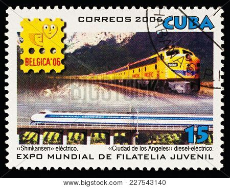 Moscow, Russia - Febuary 19, 2018: A Stamp Printed In Cuba, Shows Speed Electric Train Shinkasen And