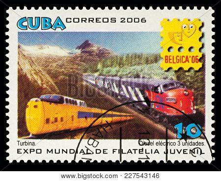 Moscow, Russia - Febuary 20, 2018: A Stamp Printed In Cuba, Shows Two Trains - Turbine Locomotive An