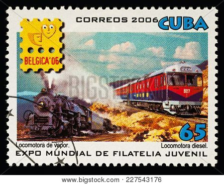 Two Trains On Postage Stamp