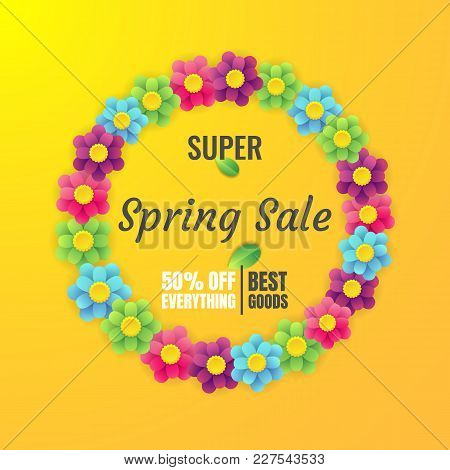 Spring Sale Banner Template With Flower On Colorful Background. Vector Illustration. Card For Spring