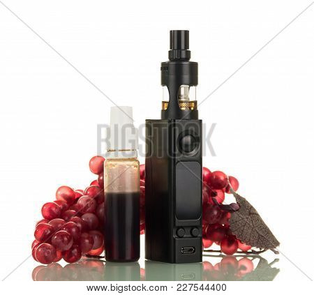Electronic Cigarette, Near Bottle With Liquid And Bunch Of Grapes, Isolated On White Background
