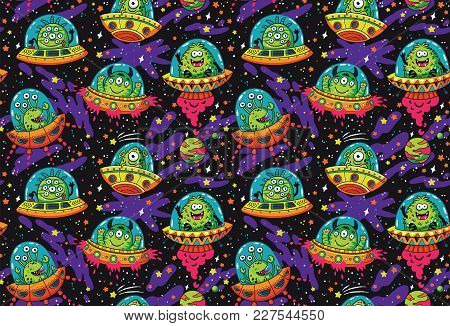 Seamless Pattern With Cute Cartoon Aliens In Flying Saucers. Vector Cosmis Endless Background. Galax