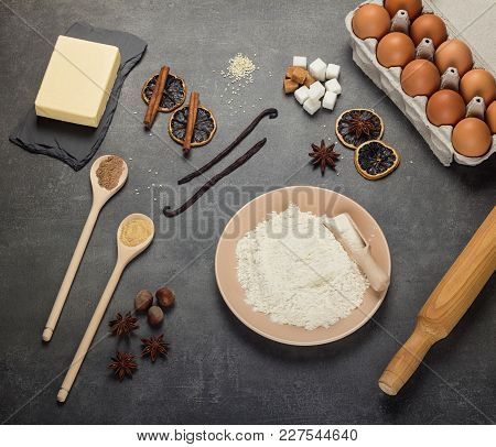 Ingredients For Baking, Spices, Confectionery Inventory, On Gray Background