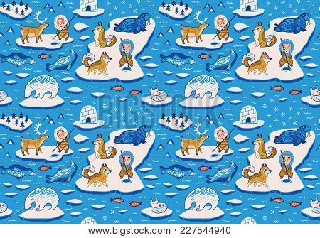 Seamless Pattern With Decorative Arctic Animals, Eskimos, Yurts And Huskies On The Ice. Fantasy Vect