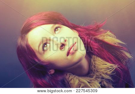 Emo Girl With Red Hair On  Gray Background