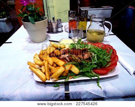 Delicious Lunch Of Greek Food In A Restaurant In Athens