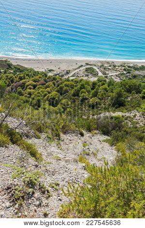 Seascape Of Blue Waters Of Gialos Beach, Lefkada, Ionian Islands, Greece