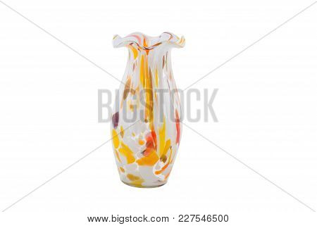 Glass Multicolored Vase For Flowers Isolated On White Background.
