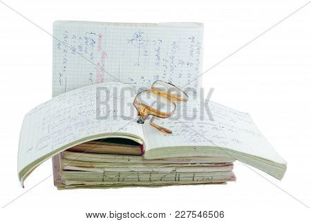 Notebooks Of Mathematician Isolated On A White Background.