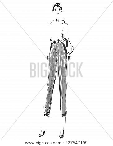 Fashion Model. Sketch. Vector Illustration. Girl In The Shirt And Pants