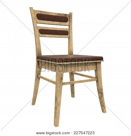Wooden Chair With Backrest 3d Render Isolated On White