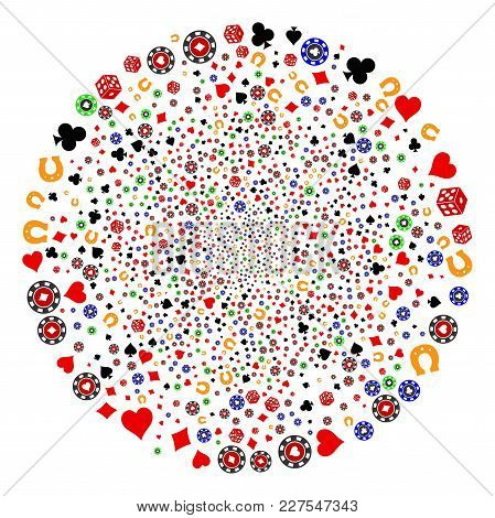 Casino Burst Round Cluster. Object Pattern Constructed From Random Casino Icons As Fireworks Round S
