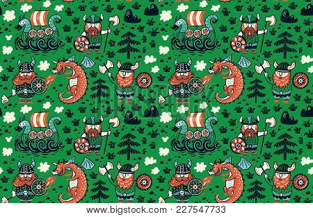 Seamless Pattern With Cartoon Vikings, Dragon And Drakkar Isolated On Green. Vector Illustration