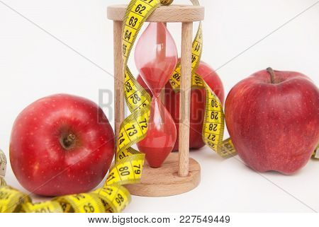 Fat Burning And Weight Loss Process. Diet And Fitness Concept. Red Apples