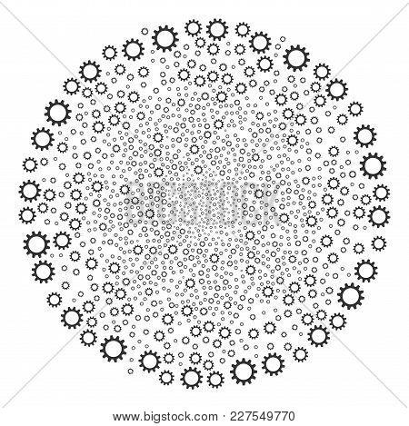 Cogwheel Festive Spheric Cluster. Object Pattern Constructed From Scattered Cogwheel Symbols As Fest
