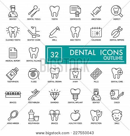 Dental Vector Thin Line Icons Set. For Website, Logos, Advertisement, Promotion Material, Sticker Et