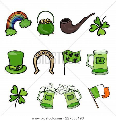 Collection Of Irish Symbols. Leprechauns Hat, Horseshoe, Pot Of Gold, Flag, Beer Mug, Rainbow, Clove