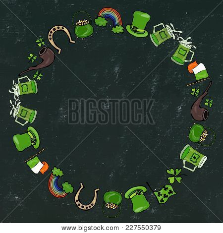 Wreath Or Round Frame. Irish Symbols. Leprechauns Green Hat, Horseshoe, Pot Of Gold, Flag, Beer Mug,