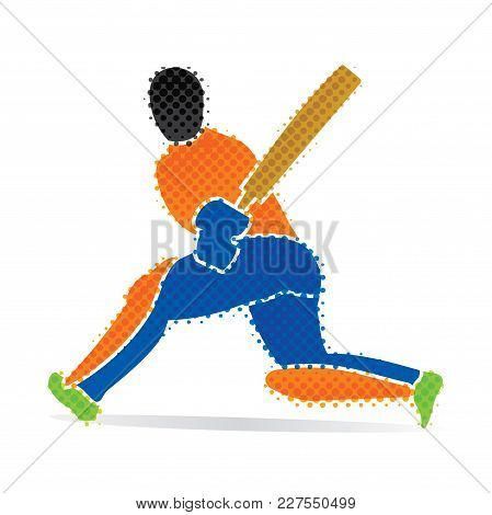 Cricket Player Hitting Big Shoot For Six, Concept Design